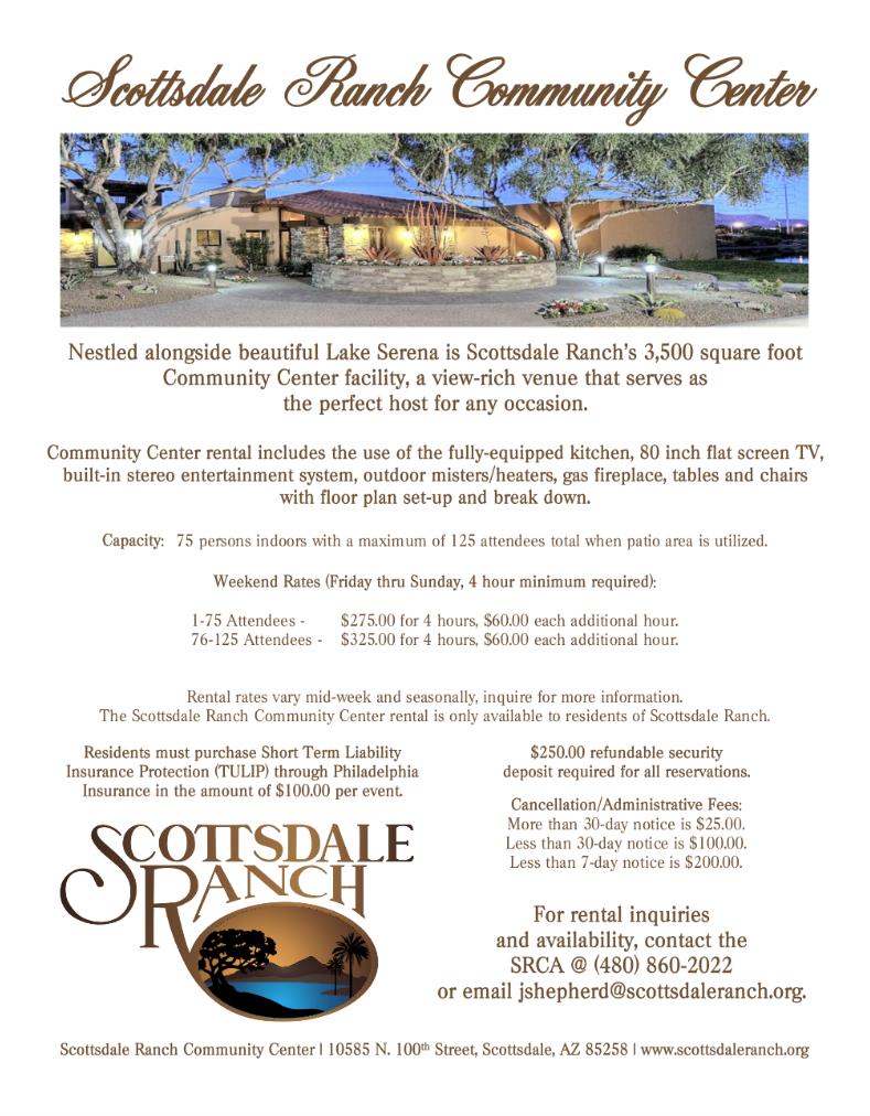 sr rental flyer scottsdale ranch community association
